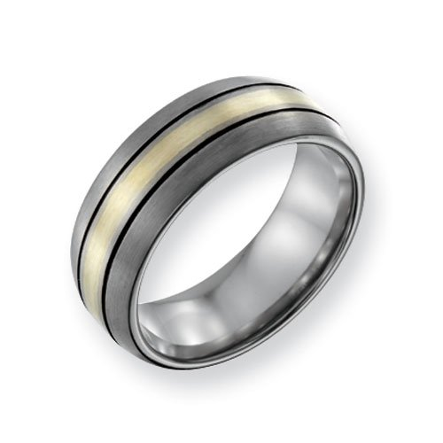 Titanium 14k Gold Inlay 8mm Brushed and Antiqued Comfort Fit Wedding Band Ring (SIZE 9.5 )