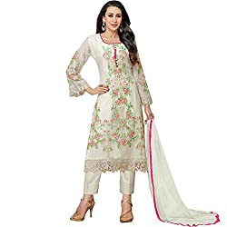 Shree Ashapura Creation Women`s Georgette Embroidered Semi-stitched Salwar Suit Dupatta Material(White)