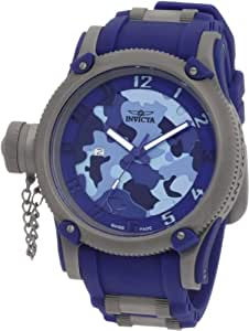 Invicta Men's 1201 Russian Diver Blue Camouflage Dial Polyurethane Watch