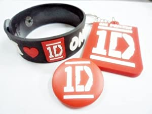3x 1d One Direction Music Bracelet Key Chain Fob Ring Button Badge Pin Brooch