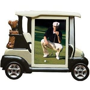 Tee time hand painted white golf cart frame