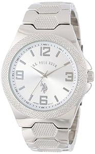 U.S. Polo Assn. Classic Men's USC80009 Rimmed Bezel Silver Dial Link Watch