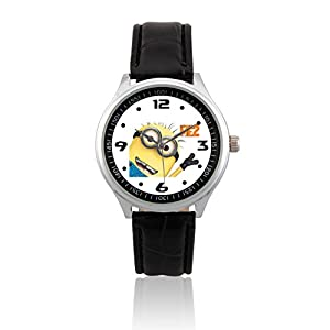 fashion adult wrist watch leather band psl089 despicable me 2 minions 1w watches
