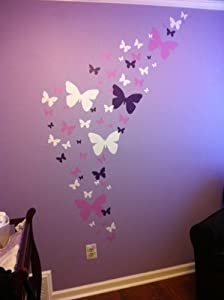 Butterfly wall decals lavendar lilac white matte for Childrens butterfly bedroom ideas