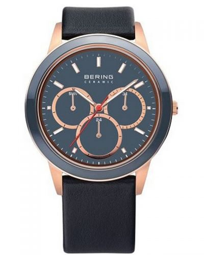 BERING Ceramic Unisex Multifunctional Watch blue/rose gold 33840-467