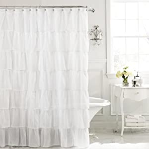 Gypsy Ruffled Shower Curtain White 70 Wide X 72 Long