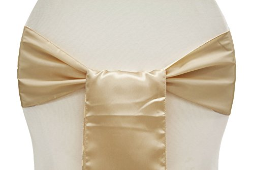 MDS Pack of 10 satin chair sashes bow sash for wedding and Events Supplies Party Decoration chair cover sash -champagne