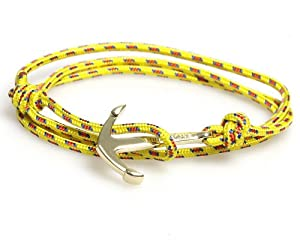 VIRGINSTONE Gold Plated Anchor Bracelets on Colorful Nylon Ropes (Yellow)