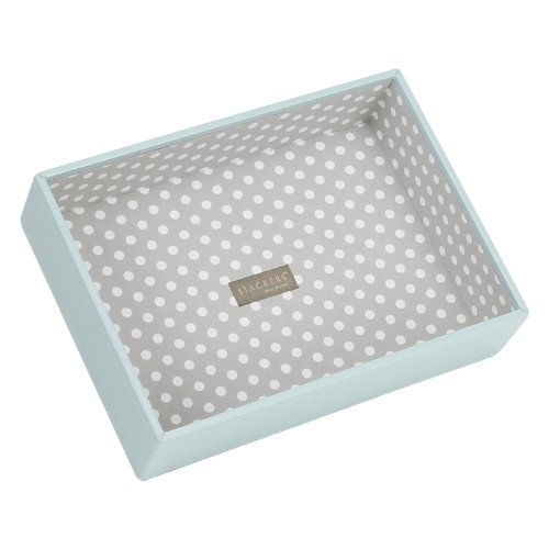 STACKERS 'CLASSIC SIZE' Duck Egg Blue Deep Open STACKER Jewelry Box with Gray Polka-Dot Lining.