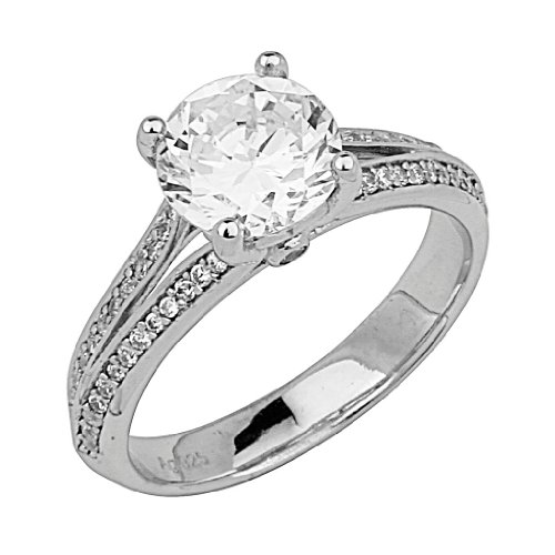 .925 Rhodium Plated Sterling Silver 2.25 CTW Equivalent Round-Cut Center Cubic Zirconia Split Shank Engagement Ring (Size 5 to 9) - Size 8