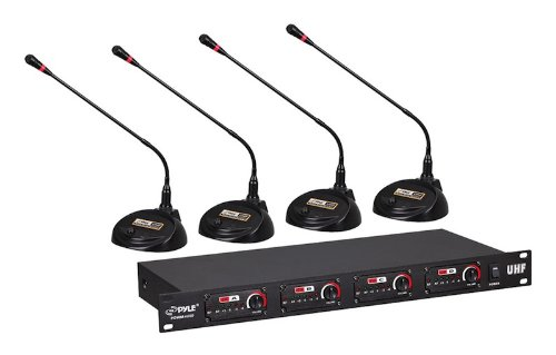 Pyle Pro Pdwm4650 Uhf 4-Channel Professional Wireless Desktop Conference Microphone System