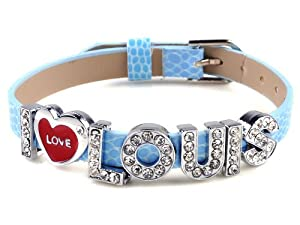 I Love Louis One Direction I Love Id Member Blue Wristband Bracelet Link Wrist Band by Yiwu City Yinuo E-Commercial Business Co.,Ltd