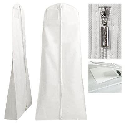 "Hangerworld 72"" White Breathable Wedding Gown Dress Garment Bag with Secret Internal Pocket"