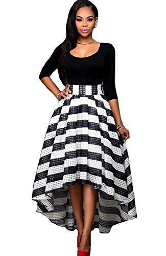 KUFV Womens Long Sleeve Tops Stripes Irregular Maxi Skirt 2PCS Cocktail Party Dress