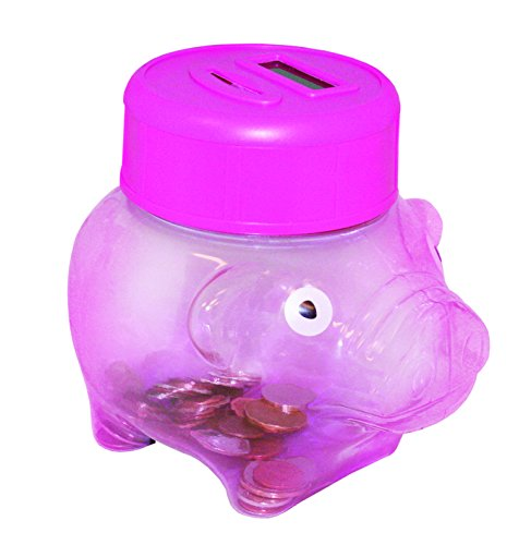 Merchandisely Transparent Pink Digital Electronic Piggy Bank Coin Counter for Kids - 1