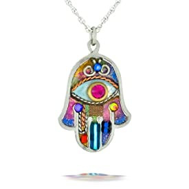 Vibrant Hamsa Necklace to Protect from the Evil Eye from the Artazia Collection #380 JN MN