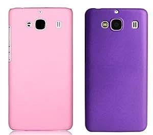 Chevron Back Cover Combo Of 2 for XiaoMi RedMi 2 (Light Pink, Purple)