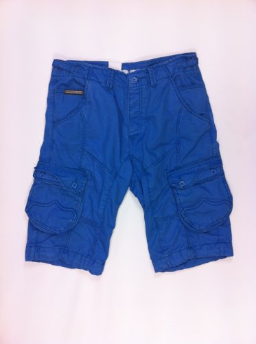 883 Police Linus Blue Mens Cargo Long Shorts-30