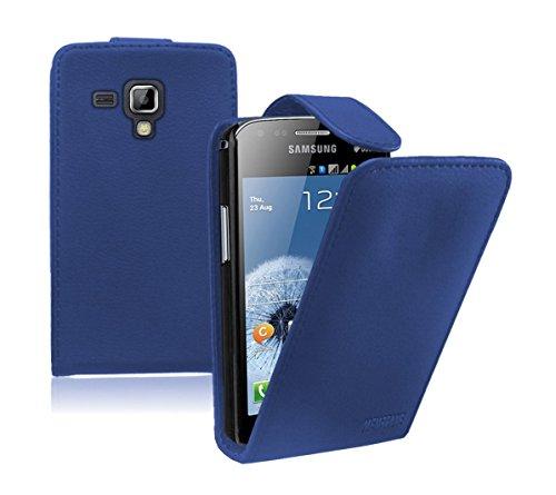 Membrane - Blau Klapptasche Hülle Samsung Galaxy Trend Plus (GT-S7580) - Flip Case Cover Schutzhülle