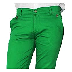 China Collection Men'sGreen Lycra Casual Trouser (32)