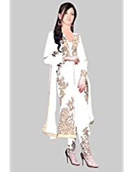 Make By India Georgette Fancy Ladies Bollywood Celebrity For Festive Season At Discount Price ( ~109-D_White_Salwar...