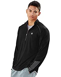 Champion Men\'s Vapor 6.2 Half-Zip Jacket, Black Heather/Stealth, Medium