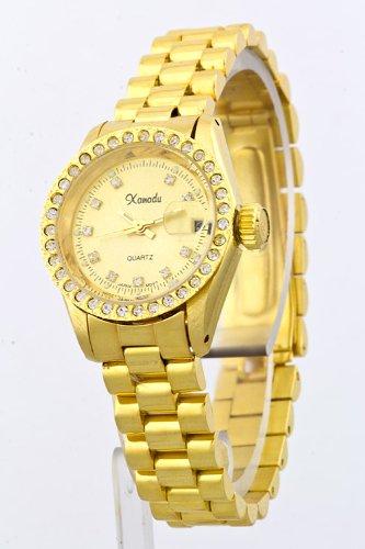 Trendy Fashion Jewelry Crystal Case Bracelet Watch By Fashion Destination   (Gold)