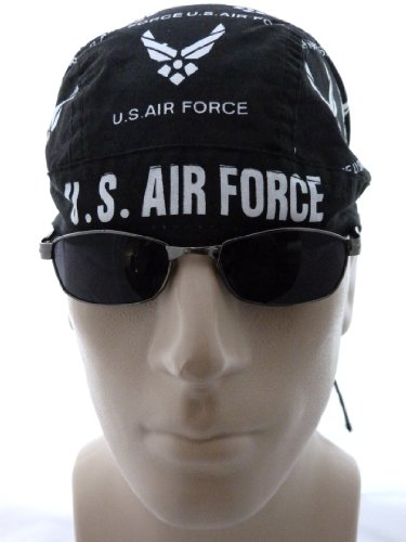 Air Force Motorcycle Cap/ Bikers Cap/ Head Wrap/ Skull Cap/ Medical Cap/ Doo Du Rag, Black and White, U.S. Air Force Biker Hat, Fits Most Men and Women Head Sizes, Headwear