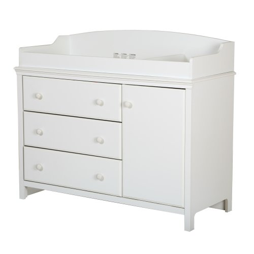 South Shore Furniture, Cotton Candy Collection, Changing Table with 2 Pull-Out Shelves, Pure White - 1