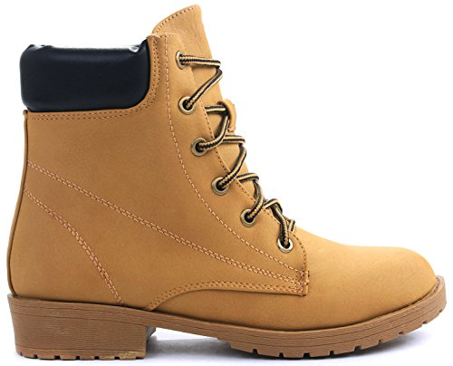 JJF Shoes Bade Camel Combat Military Nubuck Lace Up High Top Ankle Boots-7