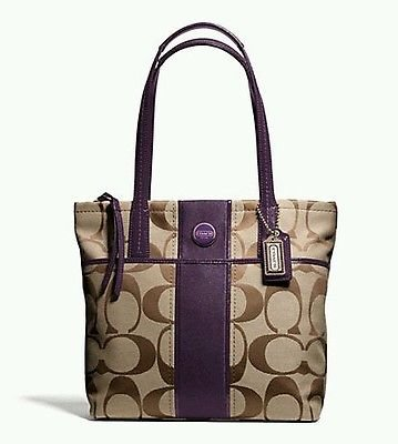 Coach   Coach Signature Stripe Tote Khaki/purple F25771