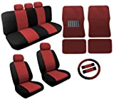 Dual Color Red/Black Two Tone Car Seat Covers Floor Mats Set 18pc Racing Stripe For Toyota Prius