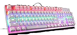 SADES K10 Multi-color LED Backlit Wired USB Mechanical Gaming Keyboard with Blue Switches(White)