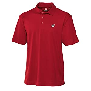 NCAA Mens Wisconsin Badgers Cardinal Red Drytec Genre Polo Tee by Cutter & Buck