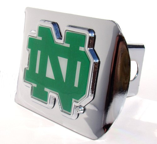 Cheap Notre Dame Fighting Irish Premium Chrome Hitch Cover with School Color ND Emblem