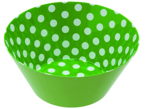 Present Time Multi Dots Print Melamine Bowl, Green