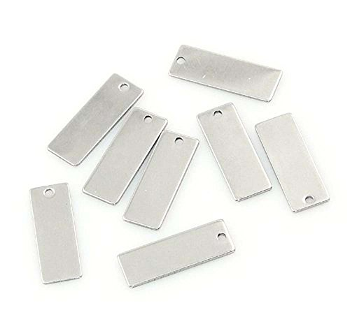 Rockin Beads 20 Stainless Steel Engraving Blanks Tags Rectangle 21mmx9mm (1