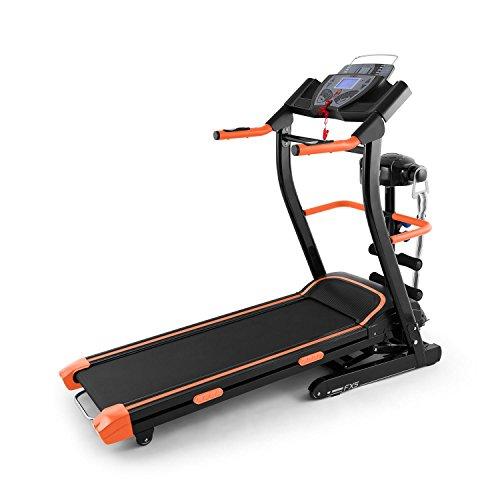 Klarfit Pacemaker FX5 nastro tapis roulant professionale salva spazio (pieghevole, 1103 Watt, 12 km/h, cardiofrequenzimetro, barra per sit-up, fascia massaggiante integrata, ingresso AUX) - arancione