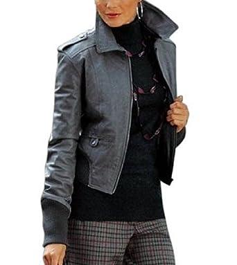 Lederjacke von Vivien Caron Blousonform in Grau