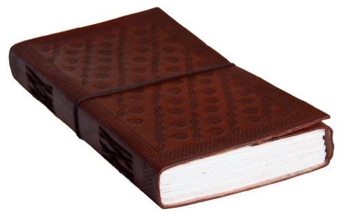 INDIARY Echtleder Tagebuch / Notizbuch aus Büffelleder handgeschöpftes Papier 23cmX13,5cm schlicht und edel Motiv Prägung