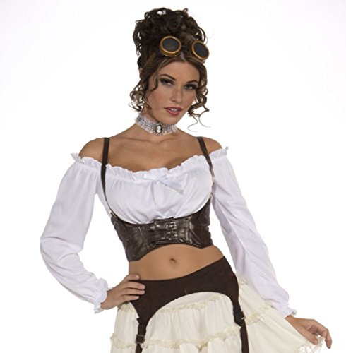 [Mememall Steampunk Brown Corset Belt Medieval Pirate Gypsy Lady Costume] (Steampunk Gypsy Costume)