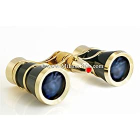Milana Optics - Opera Glasses - Sonata - With Flashlight - Black Finish with Golden Rings