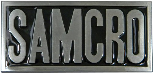 SAMCRO Die Cast Pewter Finish Belt Buckle with Black Enamel