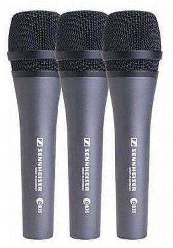 Sennheiser E835 Three Pack Of Vocal Dynamic Stage Microphones