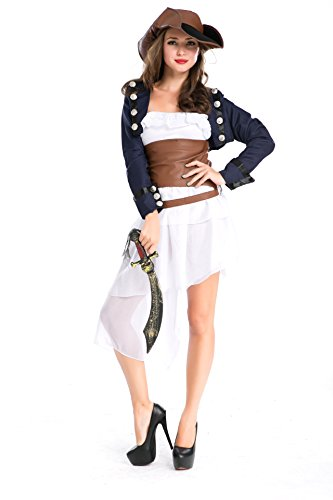 DLucc Halloween Karibik langen Abschnitt der weiblichen Swordsman bar Maskerade wesentliche Rolle Lederkleid , # 3