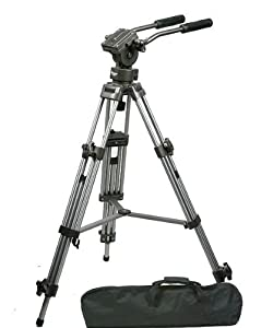ePhoto Professional Heavy Duty 75mm Video Camera Tripod with Fluid Drag Pan Head FT9901SLV