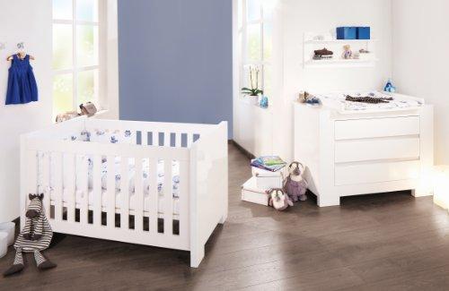 Pinolino-Sparset-Sky-breit-2-teilig-Kinderbett-140-x-70-cm-und-breite-Wickelkommode-mit-Wickelaufsatz-wei-Hochglanz-Art-Nr-09-34-98-B