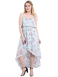 KASHANA Poly Georgette Blue Colored Floral Printed Sexy Beach Frill Strap Dress For Women Ladies Girls