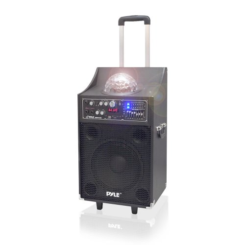 Pyle Psufm1049A 600 Watt Bluetooth 2-Way Pa Speaker System With Usb And Sd Readers, Fm Radio, 3.5Mm Input And Flashing Dj Lights