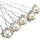 6 x Wedding Bridal Prom Diamante and White Faux Pearl Flower Hair Pins